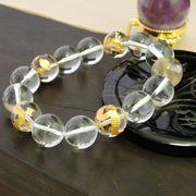 2A級 ルチルクォーツ × 金青龍 天然水晶 × 天然水晶 14mm ブレスレット 天然石 パワーストーン 丸玉 数珠