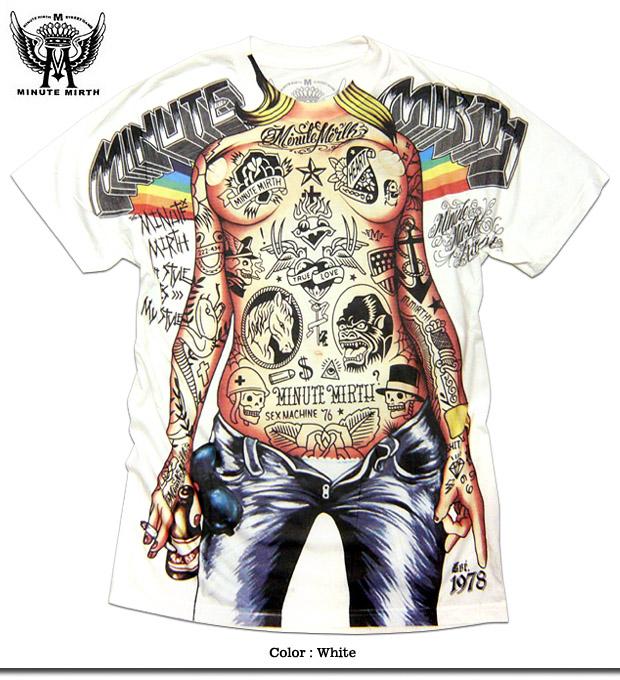 ★フルカラーインクジェット!★タトゥヌードガール総柄プリントTシャツ!★