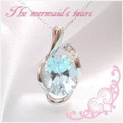 K10ホワイトゴールド・ブルートパーズスカイ×ダイヤモンド水玉モチーフネックレス