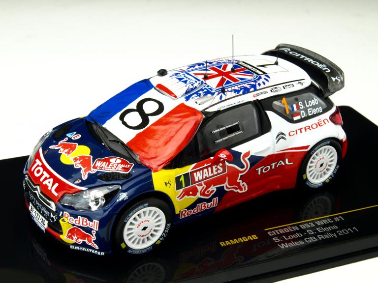 ixo/イクソ シトロエン DS3 2011年ウェールズ GBラリー #1 (フランス国旗付) ドライバー: S.Loeb-S.Elena