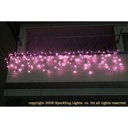 LEDイルミネーション、アイシクル(ツララ)、常点、プロ仕様(V4)、140球、ライトピンク