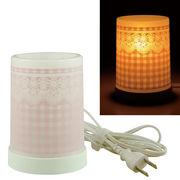 Plastic Aroma Lamp PP アロマランプ(コードタイプ) チェック&レース:ピンク◆室内照明