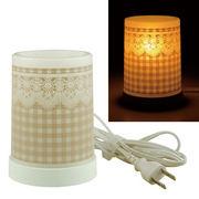 Plastic Aroma Lamp PP アロマランプ(コードタイプ) チェック&レース:ブラウン◆室内照明