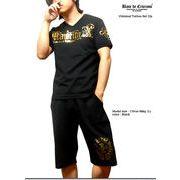 ★ラグジュアリーな金箔プリントの悪羅悪羅系メンズ日本製VネックTシャツセットアップ!★