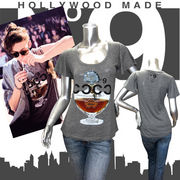 【HOLLYWOOD MADE】ハリウッドメイド★MISS ANTIQUE PERFUME DT★フレアスリーブ★半袖Tシャツ グレー