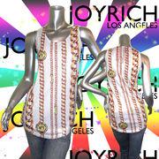 【JOYRICH】ジョイリッチ★スパンコール★チェーン柄★ロゴ★No.1★タンクトップ ホワイト