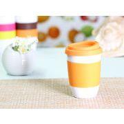【強化】 320ml単層陶器製タンブラー(オレンジ)  【シリコンバンドの色で選ぶ】