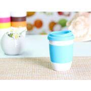【強化】 320ml単層陶器製タンブラー(水色)  【シリコンバンドの色で選ぶ】