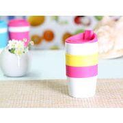【強化】 425ml単層陶器製タンブラー(ピンク)  【シリコンバンドの色で選ぶ】