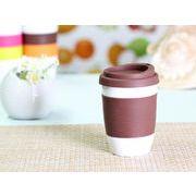 【強化】 320ml単層陶器製タンブラー(茶色)  【シリコンバンドの色で選ぶ】
