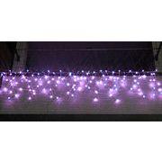 LEDイルミネーション、アイシクル(ツララ)、常点、プロ仕様(V4)、140球、ライトパープル(藤色)