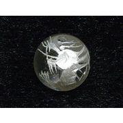 龍彫刻石 銀彫り 水晶 粒売り 約16mm 【1個】