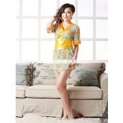 浴衣 着物ドレス 緑×黄色 和服コスプレ コスチューム 帯付き 半袖コスプレ 4005