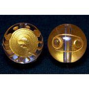 【彫刻ビーズ】水晶 10mm (金彫り) 12星座「蟹座」