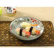 【強化】 8号丸皿(赤いコスモス)    おうち料亭/中皿/大皿/丸皿/和食器