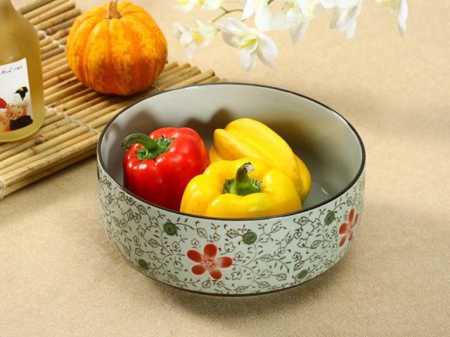 【強化】 8.5号大鉢(赤いコスモス)    おうち料亭/和食器