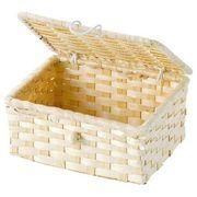 【値下げ】WrappingItems Bamboo 白竹バスケット フタ付き 25-19