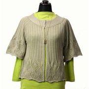 綿混 透かし編み 五分ベル袖 カーディガン