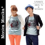 Monica Monika+ コットン100%男女兼用ユニセックス☆カメラTシャツ