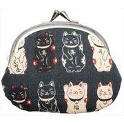 和柄財布 男物3.3寸がま口 招き猫クロ