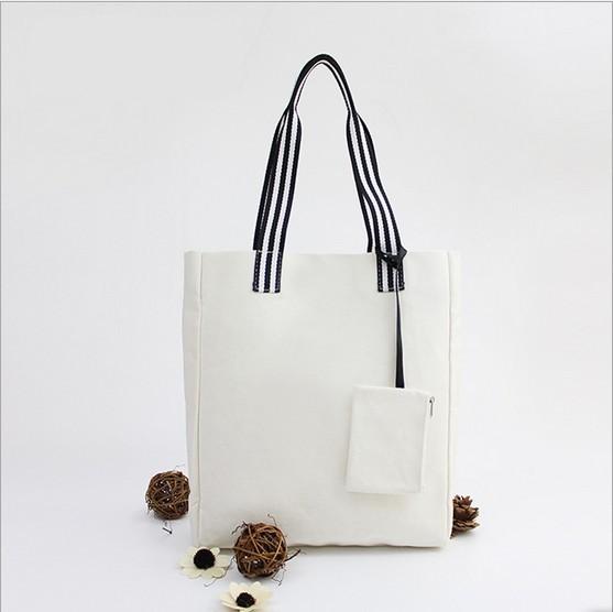 帆布トートバッグ買い物袋小銭入り付き2色・ホワイト
