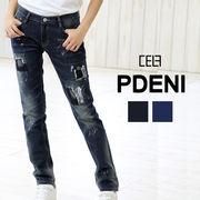 パッチワーク デニム ペイント ジーンズ【ELF005】PDENI