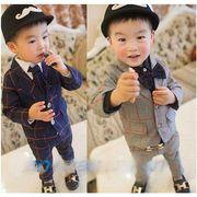 【帽子をプレゼントに】キッズスーツ 男児タキシード お祝い男の子 90~120CM 上下セット