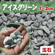 【送料無料】玉石砂利 アイスグリーン/緑色 粒1-2cm 300kg(約5平米分)