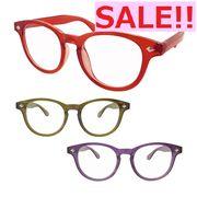 SALE!!【TY2834】ボストン型/カラフルクリアー☆伊達メガネ♪【3色展開】 まんまる/丸メガネ/眼鏡/めがね