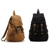 帆布・本革男女兼用リュックサックキャンパスバッグ鞄2色展開ブラック・黄土色