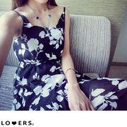 モノトーン 花柄 ロングワンピース ma【即納】ワンピース ワンピ キャミワンピ ブラック