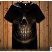 メンズシャツ 短袖 欧米風ロックンロール機関車の服 スカル tシャツ かっこいい 半袖