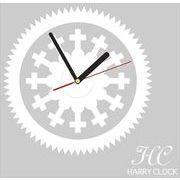 HARRY CLOCK ウォールステッカー 時計付き 貼ってはがせる 転写式 wheel (車輪) ホワイト 約45×45cm