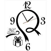 HARRY CLOCK ウォールステッカー 時計付き リボンデザインの壁時計 (ribbon walll clock) ブラック