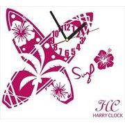 HARRY CLOCK ウォールステッカー 時計付き サーフボード (surfboard) ピンク 約45×45cm