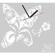 HARRY CLOCK ウォールステッカー 時計付き 転写式 サーフボード (surfboard) ホワイト AHC0079WHT