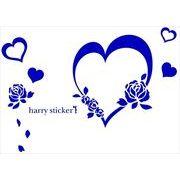 HARRY STICKER ウォールステッカー rose&heart (バラとハート) ネイビーブルー M