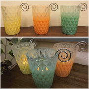 【SALE/値下げ】ヨーロッパ風★ルミナスグラス キャンドルホルダーL♪