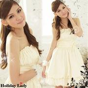 【ベージュ2L即納】結婚式パーティードレス胸元プリーツバルーンドレスワンピースミニYJ-2211