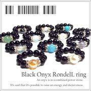 天然石 パワーストーン ロンデル オニキスリング 指輪 《SION パワーストーン 天然石》