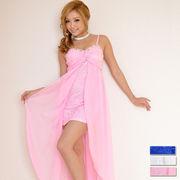 0514☆上品レース&ビジューミニINロングドレス パーティードレス フォーマル キャバドレス