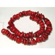 珊瑚(染色) 真紅 輪切り 約14-15×3-9mm 約44cm 連販売 約粒72個