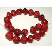 珊瑚(染色) 真紅 ブロック 約20mm 約42cm 連販売 約粒20個