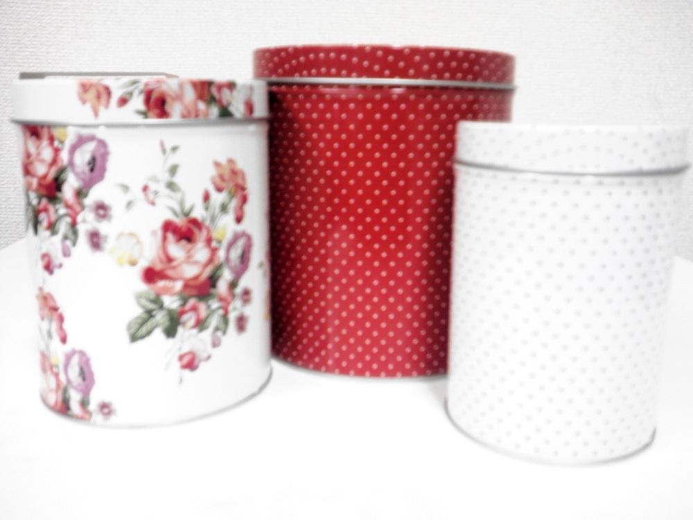 creative tops ティンボックス 水玉  フラワーモチーフ 3サイズ 1セット 収納缶 Katie Aloce