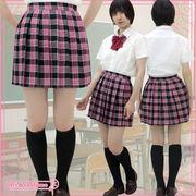 1226E■MB■送料無料■ チェック柄プリーツスカート単品 色:ピンクラメ サイズ:M/BIG
