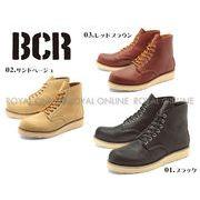S) 【BCR】 BC-284 リアルレザー プレーントゥ ワークブーツ 全3色 メンズ