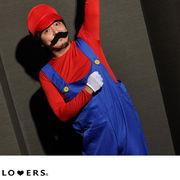 5点セット マリオ衣装 男性用【即納】ハロウィン コスプレ メンズ ひげ