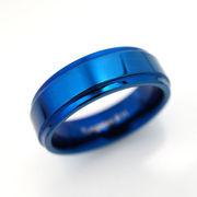 タングステンプレーン段付き平打6mm幅リング ブルー