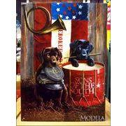 アメリカンブリキ看板 犬たちと楽器