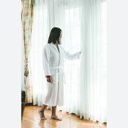 Miyabi ホテル仕様高級バスローブストライプ、ピンク縁取り、女性用
